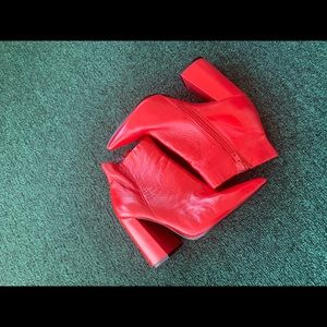 Red Steve Madden Booties